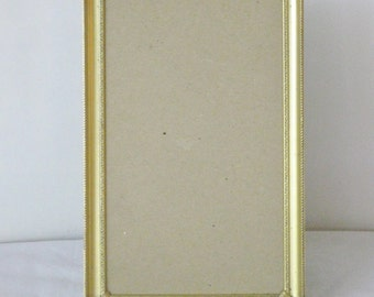 Vintage Satin Gold Metallic Photo Picture Frame, Ornate Corner Accents, Tiny black design, Felt Easel Back Photograph Portrait Frame