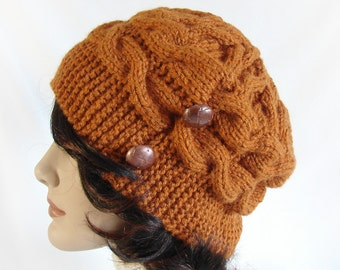 Woman's Knit Hat Rust Cable Hat Women's Hand Knit Hat Woman's Rust Knit Hat Woman's Winter Hat Cable Knit Hat Women's Knit Hat Girl's Hat