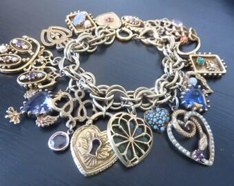Vintage Charm bracelet wonderful large detailed hearts with rhinstones