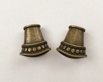 Antique Brass Cord Ends,  End Caps, Flattened Cone Shaped Cord Ends, Kumihimo Cord Ends