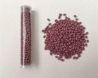 Fandango Pink Swirl Luster Peanut Beads, 2x4mm Peanut Beads, Japanese Peanut Beads, 15 grams, Tubed Peanut Beads
