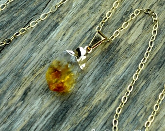 Citrine Necklace, Citrine Pendant, Citrine Stone, Raw Citrine, Citrine Crystal, Gold Citrine, November Birthstone, 14k Gold Fill Chain