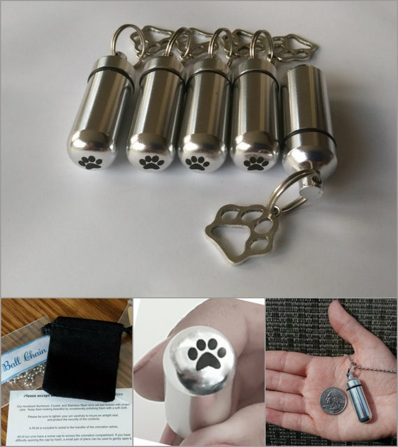 Adorable Dog/Cat/Pet Set of 5 PAW CREMATION URN Necklace Keepsakes Engraved Paws - Includes 5 Pouches, 5 Ball-Chains & Fill Kit