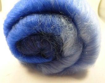 Bluebell Batt 70/30 Merino/ Silk, Angelina, and Firestar, 3.4 oz (SKU34)