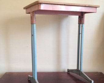 Vintage Pastel Pink and Blue Vintage Mid Century School Desk.