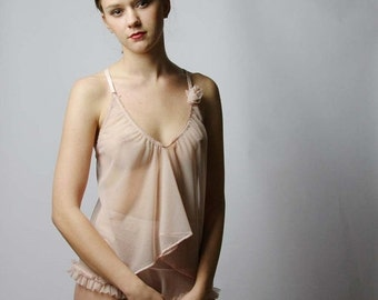 sheer lingerie camisole with open back detail - ROMANTIC range - made to order