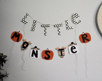NEW Halloween Little Monster banner baby shower decorations Larger Size by ParkersPrints on Etsy