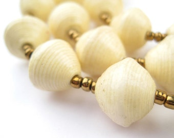 Cream Paper Beads Necklace - Handmade Uganda Fair Trade - African Eco-Friendly Jewelry Made from Recycled Newspaper (PPR-BIC-WHT-126)