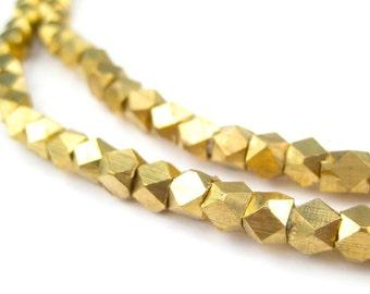 140 Diamond Cut Faceted Brass Beads 4-4.5mm - Brass Metal Beads - Brass Cube Beads - Jewelry Making Supplies + (FCT-USU-BRS-117)
