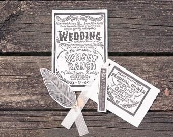 Wedding invitations, Handmade wedding invitations, Custom Block Printed Wedding Invitation Suite, Save the Date