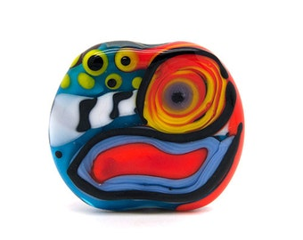 Talking Head //Modern Art // 1 free shaped lampwork bead // Modern Glass Art // Multicolored