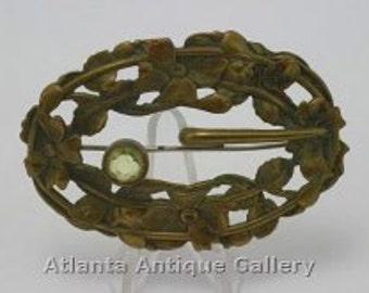 Antique Victorian Gilt Brass Sash Brooch