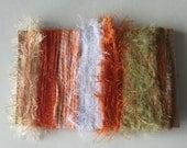ice yarns SAMPLES fiber art bundle cards orange white sweet volute evelina sale eyelash sparkle crochet knitting left over yarn scrap