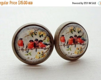 Birds on a Branch Post Earrings in Antique Brass. Robins. Red. Yellow. Purple