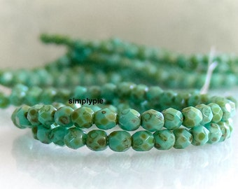 Turquoise Picasso, Czech Glass Beads Fire Polished 4mm 50 Faceted Round GLass