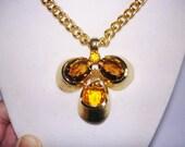 Signed Hobe Vintage Jewelry Topaz  Stone Pendant Necklace Gold Tone.