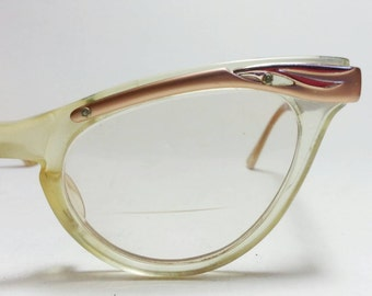 Vintage Cateye Glasses Bausch and Lomb Rose Gold Tone and Translucent Rockabilly