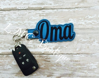 Oma Key chain, Oma Fob Embroidered Snap Tab Oma Key Fob, Embroidered Snap Tab