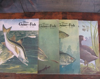 Texas Game and Fish, Lot Vintage Magazines, Hunting/ Fishing Magazine, Vintage Texas, Man Cave - Vintage Outsdoors