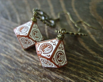 D100 steampunk dice earrings clockwork dice jewelry dnd dungeons and dragons toothed bar pathfinder dice jewelry steam punk earrings dice