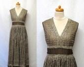 1960s / 70s Vintage Sequin Chiffon Dress / Chocolate & Café Striped Embellished Maxi Dress