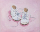 Reserved for Jennifer, Ella Jane's Shoes, original 12 x 12 x 1.5 inch commissioned oil painting by Yvonne Wagner. Commission. Baby shoes.