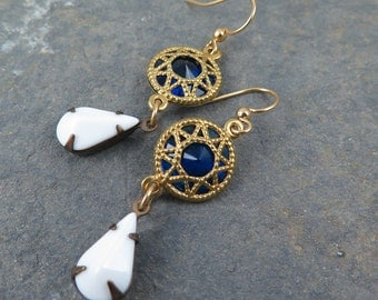 Sapphire Earrings Blue and White Earrings Vintage Blue Earrings Gift for Her Vintage Dangle Earrings