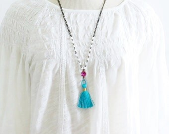 Turquoise Tassel Necklace, Boho Tassel Necklace, Tassel Jewelry, Pink and Blue, Long Beaded Necklace