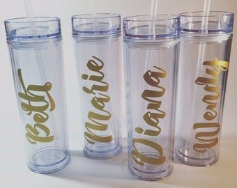 Personalized Tumbler | Bridesmaid Gifts | Wedding Party | Party Favor | Acrylic Skinny To Go Cup | Custom | Tall | Sorority Gift |
