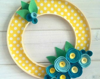 Handmade Felt Fabric Hoop Door Wreath Decoration - Blueberries 12""