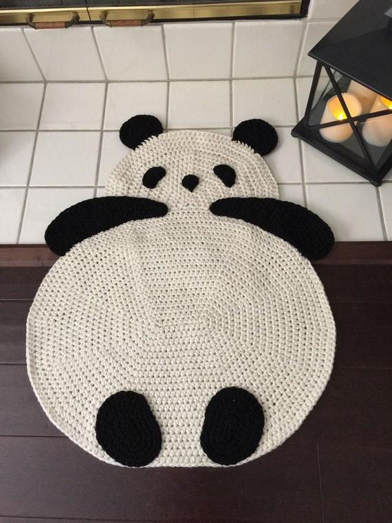 Panda Rug, Crochet Panda Rug, Floor Rug, Crochet Rug, Children Room Rug,  Any Room Rug, Wall Hanging Rug, Throw Rug