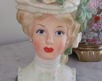 Vintage 7 Inch Inarco Lady Head Vase E5106 Yellow Rose