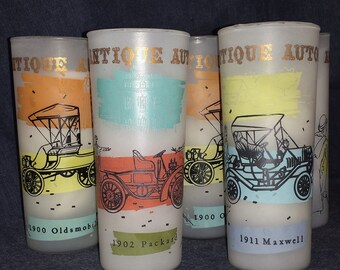 Set of 7 Gay Fad Antique Autos Frosted Drinking Glasses / Set of 7 MCM Frosted Glass Tumblers Antique Automobiles