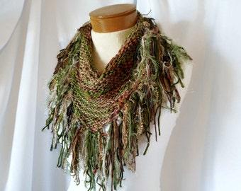 Tan and green triangle fringe scarf Cowl neck shawlette Knit wrap  Boho shabby shawl Fashion scarflette Woodland colors Elf sprite costume