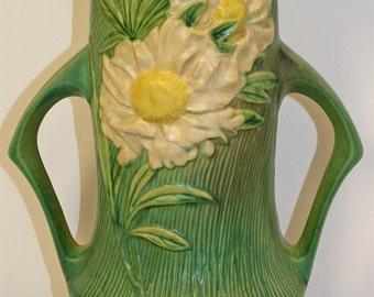 Roseville Pottery Peony Green Vase 68-14
