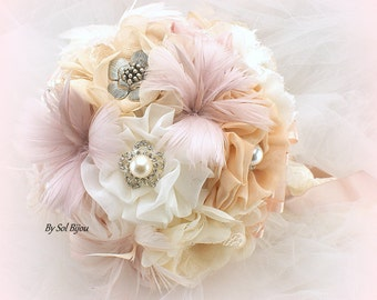 Brooch Bouquet, Rose, Champagne, Blush, Ivory, Vintage Wedding, Elegant, Feather Bouquet, Lace Bouquet, Wedding Bouquet, Pearls, Crystals
