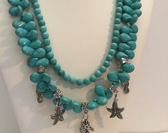 Turquoise Neckkace. Statement necklace. Double strand necklace. Seahorse Necklace. Resort Jewelry. Beach Wedding. Ocean Charm Necklace. Aqua