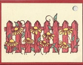 Fence with Sunflowers Tag-Set of 5