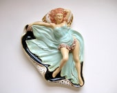 Vintage kitschy reclining naughty lady 1940s 1950s sexy lady wall plaque