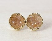 40 OFF SALE Golden Amber Druzy Studs - Round Druzy Quartz - Gold Filled