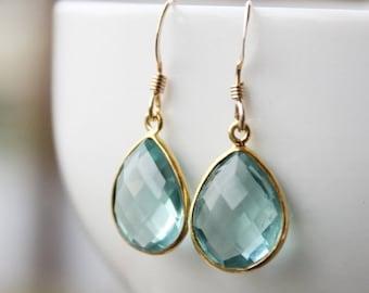 25% OFF Simple Teal Blue Quartz Teardrop Earrings - Gold Filled - Aqua Blue, Something Blue