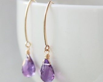 25% OFF Purple Amethyst Earrings - 14KT Gold Filled - February Birthstone, February Birthdays