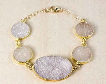 50% OFF Lilac Natural Agate Druzy Bracelet – Choose Your Druzy and Setting