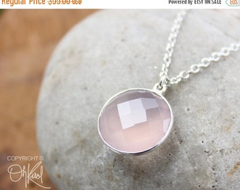 CLEARANCE SALE Silver Pink Chalcedony Gemstone Necklace