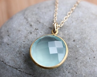 CLEARANCE SALE Gold Blue Chalcedony Necklace - Simple Bezel Necklace - Mint Green