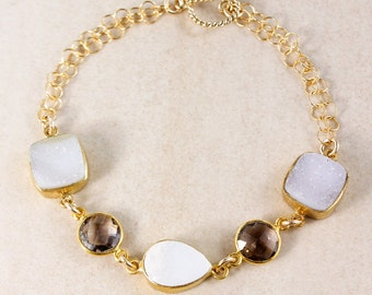 Gold-Filled Smokey Quartz Bracelet – Druzy Gemstone