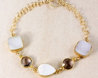 50% OFF SALE - Gold-Filled Smokey Quartz Bracelet – Druzy Gemstone