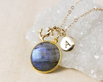 Blue Labradorite and Initial Charm Necklace – 14K Gold Filled Chain