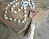40% off Sale Bohemian Moonstone Beaded, Rosary Tassel Necklace, Sliced Jasper Gold Edge Pendant, Chic Layering Necklace