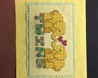 Welcome Twins Cross Stitched Card